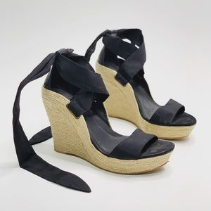 UGG Jules Black Ribbon Wedge Heels